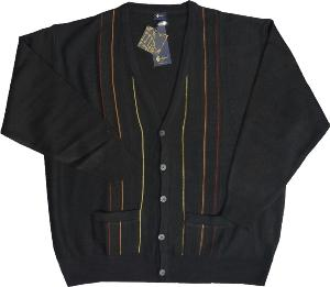 GABICCI Patterned Wool Blend Cardigan BLACK/SPICE 3XL