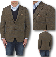 SKOPES Wool Blend Classic Check Jacket  BROWN LEYBURN