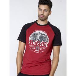 D555 CREW NECK TEE WITH CONTRAST SLEEVE AND NYC PRINT RED MARL