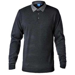 D555 Long Sleeve Sweater with Woven Shirt Collar CHARCOAL 2 - 5XL