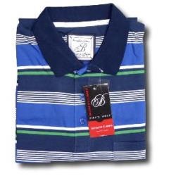 BROOKLYN Soft Jersey Striped Polo BLUE/GREEN/WHITE