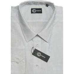 SALE - CARABOU Easy Care Long Sleeve Plain Shirt WHITE 2 - 4XL