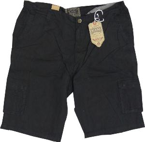 KAM  Cotton Twill Cargo Shorts with Active stretch waist BLACK