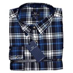 COTTON VALLEY COTTON FLANNEL CHECK SHIRT BLUE
