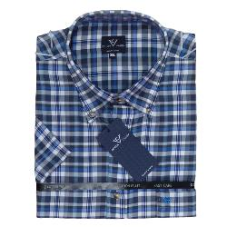 COTTON VALLEY Brushed Check Short Sleeve Shirt with button down collar BLUE/NAVY  2 - 8XL
