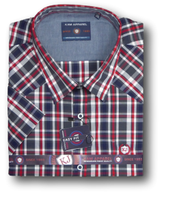 KAM Short  sleeve Western Check Shirt NAVY/RED/WHITE