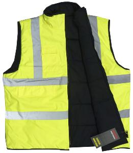BROOKLYN ESSENTIAL WORKWEAR HI-VIS REVERSIBLE BODY WARMER
