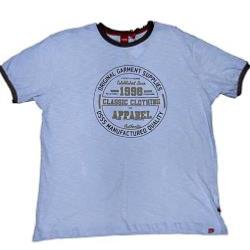 SALE - D555 Slub Woven  T-Shirt  with Print and Applique detail SKY BLUE 4 - 8XL