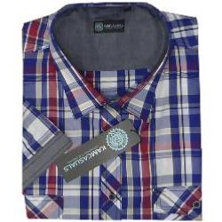 KAM Casual Cotton Twin Pocket Short Sleeve shirt STONE/NAVY/RED