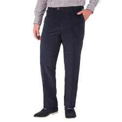"SKOPES CORDUROY TROUSERS WITH ACTIVE WAIST NAVY  44 - 58"" SHORT AND REGULAR"