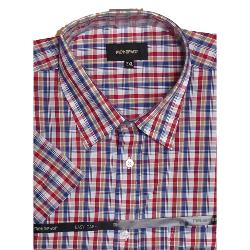 METAPHOR  SHORT SLEEVE CHECK SHIRT RED/BLUE 2 - 8XL