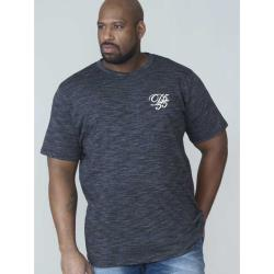 D555  SPACE DYE TEE SHIRT WITH CHEST EMBROIDERY CHALMER CHARCOAL 3 - 6XL