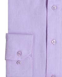 "SALE - DOUBLE TWO Herringbone Long Sleeve Formal Shirt  LILAC 19.5"" COLLAR / 3 XL"