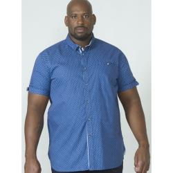 D555 KING SIZE SHORT SLEEVE GEO PRINTED SHIRT BOBBY BLUE 2 - 4 XL