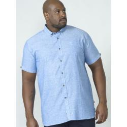 D555 LINEN COTTON SHORT SLEEVE SHIRT ERIC BLUE 3 - 8XL