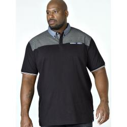 D555  SHORT SLEEVE  POLO WITH PRINTED YOKE AND BUTTON DOWN COLLAR BRENT BLACK 3 - 6XL