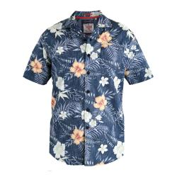 D555 Short Sleeve Hawaiian Reverse Print Shirt DARK NAVY RAYMOND 3 - 6XL