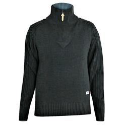 D555  QUARTER ZIP FUNNEL NECK SWEATER VITO BLACK 2 - 5XL