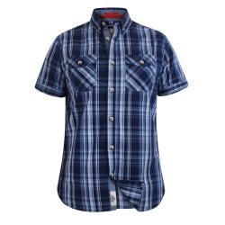 D555 KINGSIZE SHORT SLEEVE  TWIN POCKET CHECK COTTON SHIRT SAFFORD NAVY 3 - 8XL