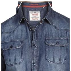 DUKE D555 Denim Vintage Wash Shirt  with twin pockets JEROME