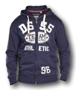 Plus Size D555 Team Athletic Hoody with Print and Applique NAVY