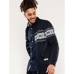 D555 KINGSIZE FULL ZIP FAIRISLE  SWEATER WITH BONDED FLEECE LINING NAVY CAMPBELL  3 - 8 XL