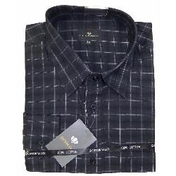 COTTON VALLEY DOBBIE CHECK SHIRT WITH SILVER THREAD DETAIL BLACK 3 - 8XL