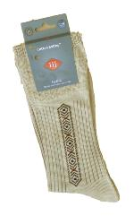 SALE - HJ HALL Soft Top  Cotton Rich Sock with Arrow Pattern Design  OATMEAL 11-13 UK