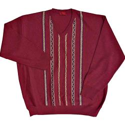 GABICCI  Patterned Designer Vee neck Sweater CHERRY 5XL