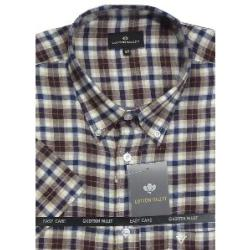COTTON VALLEY Brushed Check Shirt Short Sleeve WINE/NAVY