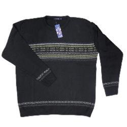 INVICTA CREW NECK PATTERNED PULLOVER BLACK 2 - 5XL