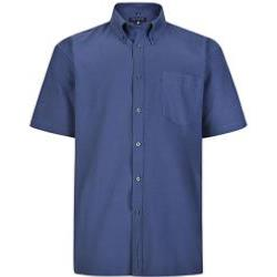 KAM Short Sleeve Oxford  Shirt with button down Collar NAVY