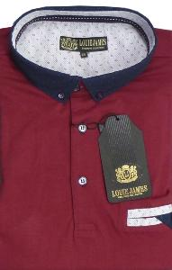 LOUIE JAMES Soft Jersey Polo Shirt with Fashion collar RED 5XL