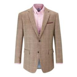 SKOPES  Linen/Wool Herringbone Check Jacket - ANDREW BROWN