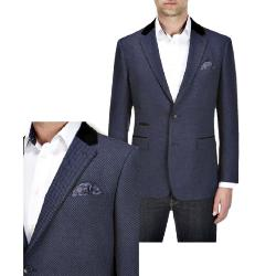 "SKOPES CONTEMPORARY MICRO CHECK BLAZER WITH BLACK SUEDE COLLAR NAVY SHOREDITCH 50-66"" CHEST REGULAR"