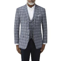 SKOPES LUXURY LINEN / WOOL SPORTS JACKET SYRACUSE BLUE CHECK