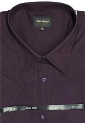 Metaphor Plain Shirt - Short Sleeve AUBERGINE