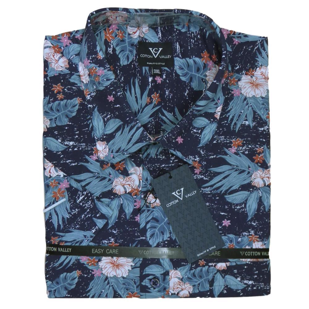 Mens KAM Poly Cotton Floral Hawaiian Short Sleeve Shirt Casual Big Size 2-8XL