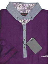 LIZARD KING Two tone Chambrey Fashion Polo shirt  BEETROOT 5 -7XL