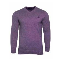 RAGING BULL KNITWEAR - Cotton Cashmere Vee Neck Sweater PURPLE 3 - 6XL