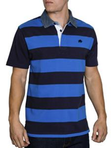 RAGING BULL Striped Rugby Polo NAVY/COBALT 3XL