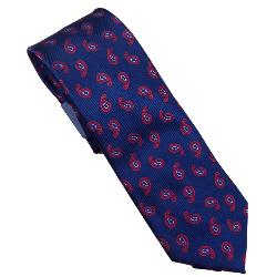 DOUBLE TWO Extra Long Tie NAVY / RED PAISLEY