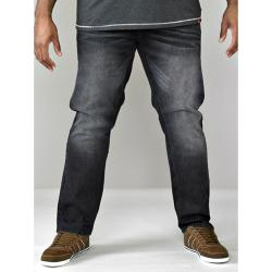 D555 TAPERED FIT STRETCH JEANS DARK GREY STONEWASH