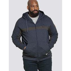 D555 KINGSIZE FULL ZIP HOODIE WITH CUT AND SEWN DETAIL LOUISIANA NAVY / CHARCOAL MELANGE 3 - 6XL