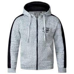 D555  COUTURE FULL ZIP HOODY WITH CONTRAST COLOUR PANEL TO SLEEVE GREY MELANGE 3 - 5XL
