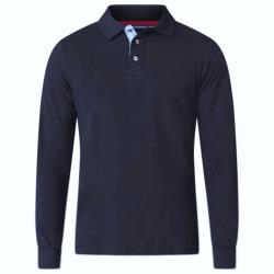 D555 BIG MENS LONG SLEEVE POLO WITH CHAMBREY PLACKET DARVIN NAVY 3 - 6XL