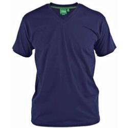 D555 Signature Combed Cotton VEE Neck T-Shirt NAVY 3 - 6XL