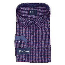BEN GREEN PURE COTTON  LONG SLEEVE CHECK SHIRT - RED/NAVY  3 - 5XL