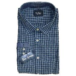 BEN GREEN PURE COTTON  LONG SLEEVE CHECK SHIRT - BLUE/NAVY  3 - 5XL