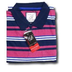 BROOKLYN Soft Jersey Striped Polo NAVY/PINK/WHITE